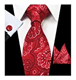 Men's Novelty Slim Red Floral Silk Tie Set Party Wedding Polyester Neckties Gift