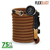 Expandable Garden Hose - 3 sizes: 50ft, 75ft, 100ft - Kink-Free - Lightweight - Flexible - Expands for Easy Use -Contracts for Easy Storage-Brass Fittings -8 Function Spray Gun -Orange and Green (75)