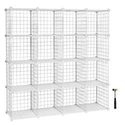 SONGMICS 16-Cube Shelves Organizer, Modular Bookcase, DIY Closet Cabinet Shelf White ULPI44W