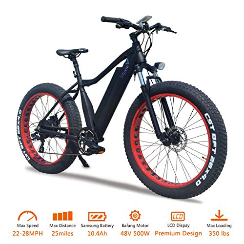 VTUVIA Electric Bike With 500W Bafang Motor And 48V 10.4Ah Removable Samsung Lithium-Ion Battery 26 Inch Fat Tire Bicycle Waterproof City Mountain E-Bike For Adults Men