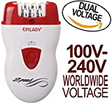 Epilady Speed Corded Epilator EP-810-44 with Dual Voltage 100-240V Power Supply Adapter & International Two-Prong Round Pin Plug Adapter (Bundle)