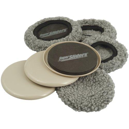 "Supersliders 4703995N Multi-Surface 2-in-1 Reusable Furniture Carpet Sliders with Hardwood Socks- Protect & Slide on Any Surface 5"" Linen (4 Pack)"