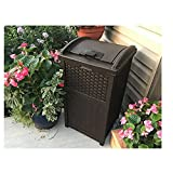 30 Gallon Trash Can, Outdoor Resin Wicker Tall Waste Basket with Lid,Trash Barrel for Residential Commercial Use,Durable Design for Patio,Yard