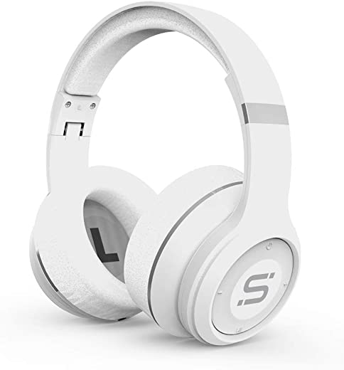 SoMi Infinite Over Ear Bluetooth Headphones, Wireless Headset, Foldable, Adjustable, Comfortable Protein Earmuffs w/Built-in Mic and Wired Mode for PC/Cell Phones/TV, White