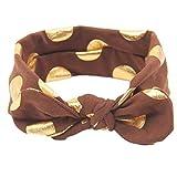 Baby Girls Gold Dots Bronzing Headband Cotton Turban Knotted Hair Bow Hairband JA60 (10# Coffee)