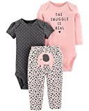 Carter's Baby Girls 3 pc Cotton Elephant Snuggle Character Set, Peach, 9M