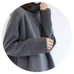 Qounfhy sweater Winter Cashmere Wool Women Warm Solid Sweaters Casual Sleeve Turtleneck