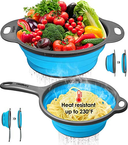 """Longzon Collapsible Silicone Colanders and Strainers [2 Piece Set], Diameter Sizes 8"""" – 2 Quart and 9.5″ – 3 Quart, Pasta Vegetable/Fruit Kitchen Mesh Strainers with Extendable Handles Red and Grey"""