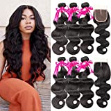 Beauty Princess Brazilian Body Wave with Closure 8a Unprocessed Brazilian Virgin Hair 3 Bundles with Middle Part Closure Natural Black Human Hair Bundles With Closure(22 24 26 with 20inch)