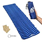 Camping Mat Inflatable Sleeping Pad - Compact & Lightweight for Backpacking - Ultralight Air Mattress Engineered for Comfort - with 3 Repair Patches and Bonus Survival Whistle (Admiral Blue)