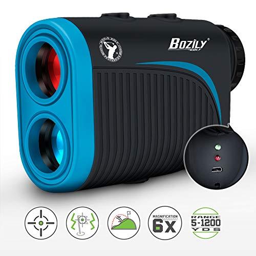 Bozily Golf Rangefinder, 6X Rechargeable Laser Range Finder 1200 Yards with Slope Adjustment, Flag-Lock, Slope ON/Off, 4 Scan Mode, Continuous Scan Support - Tournament Legal Golf Rangefinder