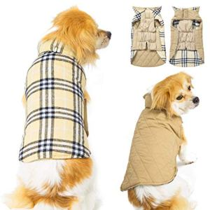 Cozy Waterproof Windproof Reversible British Style Plaid Dog Vest Winter Coat Warm Dog Apparel for Cold Weather Dog Jacket for Small Medium Large Dogs with Furry Collar