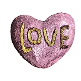 U-miss Mermaid Pillow with Pillow Insert By, Two-color Decorative Heart Shape Reversible Sequin Pillow 13''×15'' (Heart-Shaped, Pink-Gold)