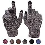 Achiou Winter Warm Touchscreen Gloves for Women Men Knit Wool Lined Texting (Black woth White)