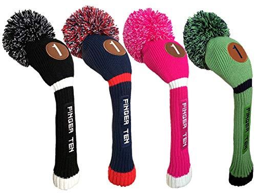 FINGER TEN Pom Pom Golf Club Head Covers for Driver Fairway Hybrid Wood, Vintage Knit Black Blue Pnk 1 3 5 Men Women Set (Driver, Black/White)