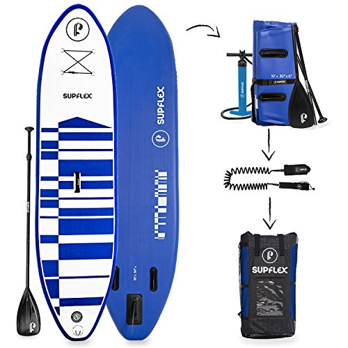 Supflex Paddle Boards All-Around 10' Inflatable SUP Package (6' Thick) - Board, Pump, Paddle, Bag & Leash (Blue)