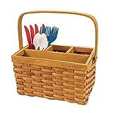 Fun Express Utensil Caddy - Woven Wood Picnic Basket