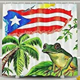 Huangwei Flag of Puerto Rico Palm Frog Shower Curtain Waterproof Polyester Fabric Bath Curtain 65' X 72'