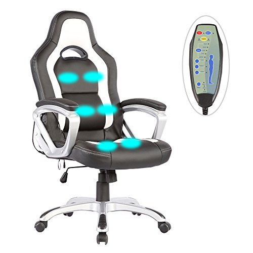 Mecor PU Leather Heated Office Chair-6 Vibration Massage Ergonomic Vibrating/Executive Computer Chair-Adjustable Height & 360 Degree Swivel(Black&White)