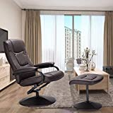 Swivel Recliner Chair, WaterJoy PU Leather Lounge Armchair Recliner, 360 Degree Swivel Overstuffed Padded Seat Chair with Footrest Stool Ottoman Set for Office Living Room Brown