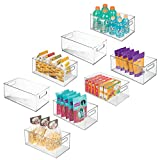 mDesign Deep Plastic Kitchen Storage Organizer Container Bin with Handles for Pantry, Cabinets, Shelves, Refrigerator, Freezer - BPA Free - 14.5' Long, 8 Pack - Clear