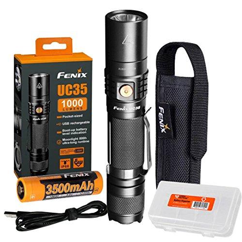 Fenix UC35 V2.0 2018 Upgrade 1000 Lumen Rechargeable Tactical Flashlight 3500mAh Battery and Lumen Tactical Organizer
