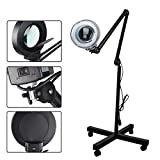 LED Magnifying Floor Lamp with Utility Clamp Standing Full Spectrum Bright Magnifier Lighted Glass Lens - Adjustable Stand and Swivel Arm Light - For Reading Task(Black)