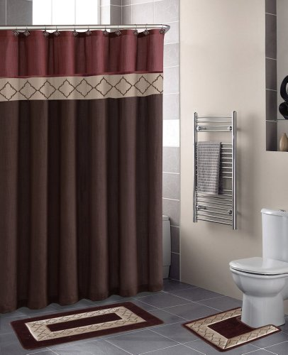 Home Dynamix Designer Bath Polyester 15-Piece Bathroom Set, Rust/Brown