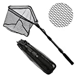 SAN LIKE Fishing Net Fish Landing Net, Durable Nylon Rubber Coated Material Mesh, Collapsible Telescopic Pole,EVA Non-Slip Handle Safe Fish Catching Or Releasing