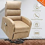 ULTIFIT Power Lift Chair for Elderly Heat and Massage Recliner Textured Suede Small Lift Recliner with USB Port & Side Pocket (Maize)