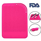 Heat Resistant Mat for Curling Irons, Hair Straightener, Flat Irons and Hair Styling Tools 9' x 6.5', Food Grade Silicone, Pink