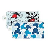 Bumkins Disney Mickey Mouse Snack Bags, Reusable, Washable, Food Safe, BPA Free, Pack of 2