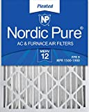 Nordic Pure 16x25x4M12-2 MERV 12 Pleated AC Furnace Air Filters, 16x25x4, 2 Pack