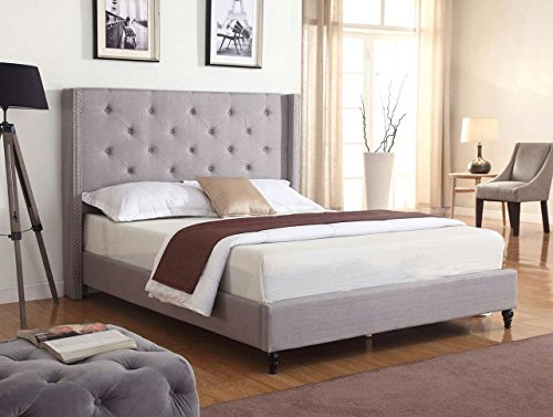 Life Home Premiere Classics Cloth Light Grey Silver Linen 51' Tall Headboard Platform Bed with Slats Queen - Complete Bed 5 Year Warranty Included