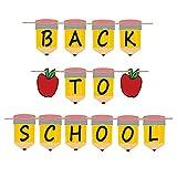Back To School Banner - First Day of School Pencil Banner for Back to School Party Decoration, Welcome Back Party Supply, kindergarten Kids Teacher Gift, Home Classroom Mantel Garland Decor Photo Prop