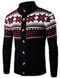 Product review for LETSQK Men's Casual Slim Fit High Collar Button Up Knitted Sweater Cardigans