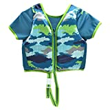 Swimschool Swim Trainer Vest with Sun Protective Sleeves, Adjustable Safety Strap, Medium/Large, up to 50 Lbs., Blue