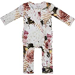 Posh Peanut One Piece Romper Silky Soft & Breathable - Premium Knit Infant Clothing - Bamboo Viscose (Black Rose, 9-12 Months)