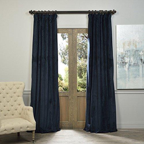 Half Price Drapes VPCH-194023-84 Signature Blackout Velvet Curtain, Midnight Blue, 50 X 84