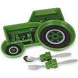 KidsFunwares Tractor Dinner Dishwasher Safe 3 Section Plate & Utensil Set