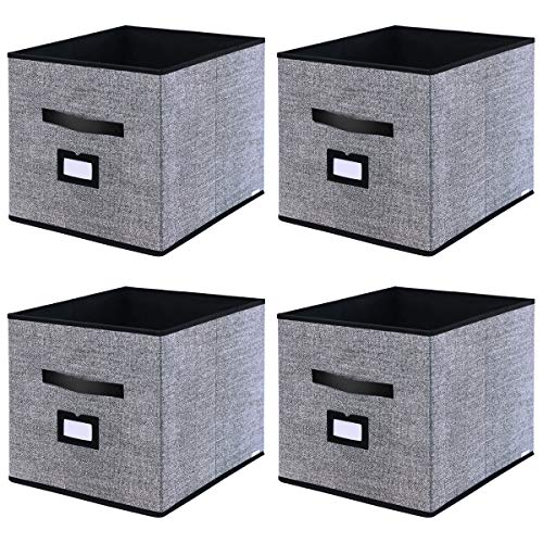Onlyeasy Foldable Cloth Storage Cubes with Label Holders - Fabric Storage Bins Baskets Organizers for Home Office Nursery Cubby with Dual Leather Handles, 13'x15'x13', 4 Pack Black, MXABXL04PLP