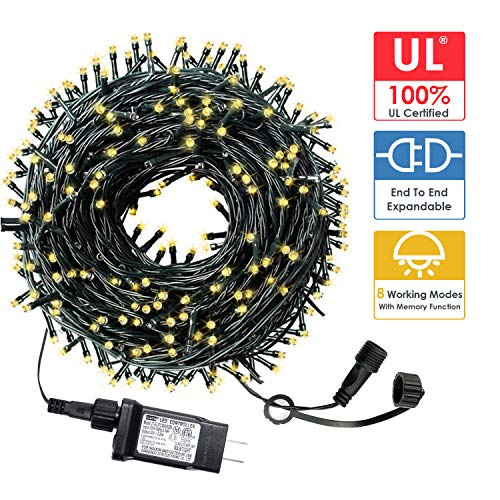 HYH Christmas String Lights 105Ft 300 LEDs with UL Certified End-to-End Expandable Plug, 8 Modes Waterproof Outdoor Indoor Fairy String Lights for Party, Christmas Tree, Holiday Decoration(Warm White)
