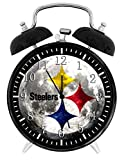Steelers Twin Bells Alarm Desk Clock 4' Home Office Decor F36 Nice for Gifts