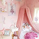 Dix-Rainbow LEDUNUS Princess Bed Canopy for Kids Baby Bed, Round Dome Kids Indoor Outdoor Castle Play Tent Hanging House Decoration Reading Nook Cotton Canvas Coral Pink