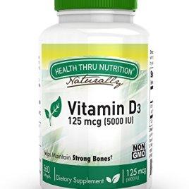 Vitamin D3 5000 IU, Non-GMO, 360 Mini Softgels, Soy Free, USP Grade Natural Vitamin D