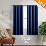 Room Darkening Curtains for Bedroom Thermal Insulated Triple Weave Grommets Living Room Window Treatments by, Two Panels, 63 Inch, Blue