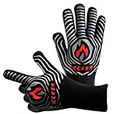ICCKER Oven Gloves 1112°F (600°C) Extreme Heat Resistant Cooking Gloves for Kitchen, Baking, Fireplace, Grill, BBQ - 14 Inch (36CM) (Glove 1)