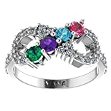 NANA Silver Infinity Mothers Ring with 1 to 6 Simulated Birthstones - Sterling Silver - Size 8
