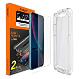 Spigen Tempered Glass Screen Protector [Installation Kit] Designed for iPhone XR [2 Pack]