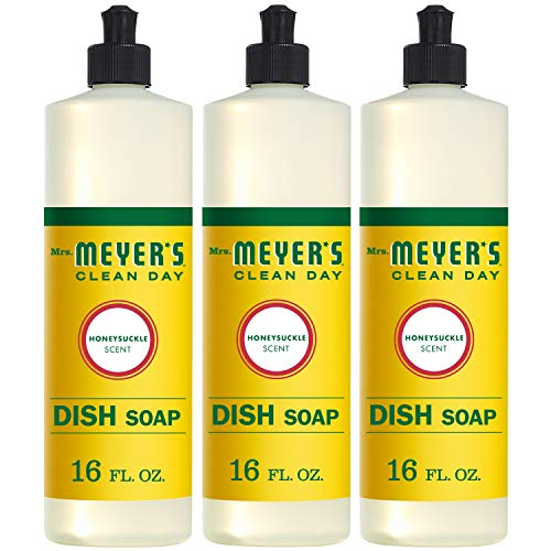 Mrs. Meyer's Clean Day Liquid Dish Soap, Honeysuckle, 16 ounce bottle (Pack of 3)